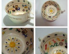 Vintage 1949 Mystic Teacup Fortune Telling Tea Cup Marguerite Scott Zodiac Signs Numerology Tea Leaves Tarot W/ ORIGINAL INSTRUCTION SHEET