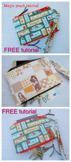 """FREE tutorial to make the Magic Pouch. This is a lovely little pouch with two separated zipper compartments for your phone, money and keys etc. With a strap to hook onto the pouch, you will always have your essentials at hand. The finished pouch is 8"""" wide by 5 ½"""" high."""