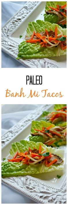 Banh Mi Tacos: Tender strips of perfectly seasoned pork tenderloin are wrapped in lettuce and topped with pickled veggies for a hand-held dinner that sings with flavor. These Paleo Tacos are fusion food at it's Veal Recipes, Top Recipes, Easy Healthy Recipes, Lunch Recipes, Easy Dinner Recipes, Paleo Recipes, Asian Recipes, Mexican Food Recipes, Whole Food Recipes