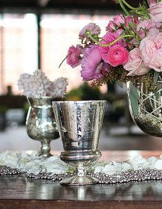 Mercury Vase Glass Tapered 6.75in
