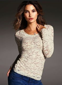 Womens Sexy Tops: Sexy Fashion Tops at Victorias Secret Beautiful Outfits, Cute Outfits, Victoria Secret Outfits, Lace Tee, Lace Shirts, Stretch Lace, Women Lingerie, Dress To Impress, Long Sleeve Tops