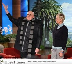 Love this man. Steve Carell turns up to Ellen interview dressed as Gru from Despicable Me 2.