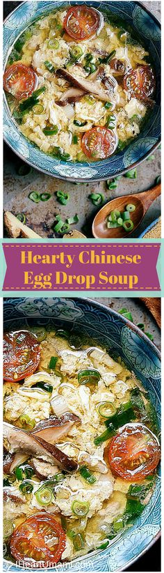 Hearty Chinese Egg Drop Soup ! Enjoy the most fluffy and soft eggs in savory chicken broth and citrus tomatoes! Paleo, Whole30, Keto, and family friendly!