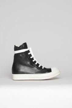 fd13bcbf7afda1 Rick Owens - High-Top Sneakers - Black White White High Top Sneakers