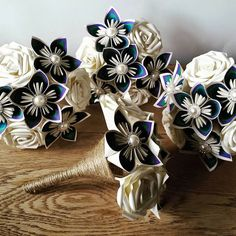 Paper Flower Bouquet origami bridal UK peacock by PaperBouquetsUK