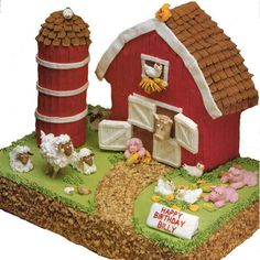 Little Red Barn Cake - Old Mac Donald would be proud to be the owner of this Little Red Barn Cake. Use our Stand-Up House Pan to create the little red barn. The sheet cake barnyard is well-stocked with an assortment animals and the silo is stacked to the rooftop with cookies!
