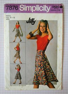 Uncut Vintage 1970s Misses Waistband Tie Ends Seamless Front Wrap Skirt Size Small 10 12 Sewing Pattern Simplicity Jiffy 7876