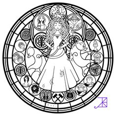 Stained Glass: Merida -line art- by Akili-Amethyst on deviantART