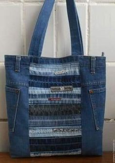 """Buy Bag """"Denim"""" – dark blue, striped, … – About The Bag Denim Tote Bags, Denim Purse, Jean Purses, Purses And Bags, Denim And Lace, Dark Denim, Denim Ideas, Buy Bags, Recycle Jeans"""