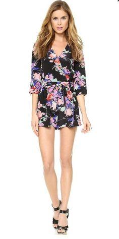 $229 Yumi Kim Silk Liz Romper Black Blossom Medium M #YumiKim #Romper $175