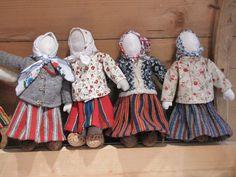 Dolls at the handicraft exhibition in the gallery of Estonian Handicraft House, Tallinn.