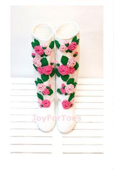 #Wedding #Crochet #Boots #Pink #Roses #Floral #Women #Shoes Low heel by #JoyForToes