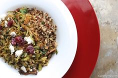Brussels Sprouts and Mushroom Ragout with Crispy Quinoa