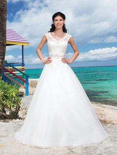Beading And Flowers Corded Lace V-Neck And Cap Sleeves Ball Gown