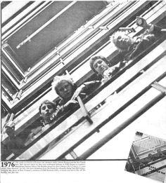 The Sex Pistols mocking The Beatles' Please Please Me cover at the EMI House at Manchester Square, London 1976 #EMI#the beatles#sex pistols#glen matlock#johnny rotten#john lydon#steve jones#paul cook#1970s#1976#please please me#punk#punk rock#rock n roll