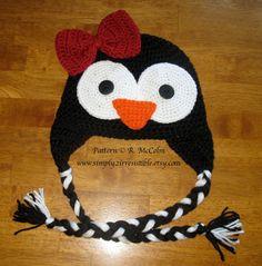 Penguin Hat Pattern - Crochet Pattern Number 35 - Beanie and Earflap Pattern - Newborn to Adult - CROCHET HAT PATTERN. $3.25, via Etsy.