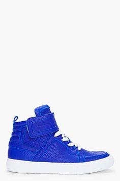 Pierre Hardy Blue High-top Velcro Sneakers for men   SSENSE
