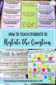 One of the most important lessons that I teach my upper elementary students is how to restate the question in the answer. We start with a lesson about how to restate the question. PQA: Put the Question in the Answer. This can still be tricky for some kids 5th Grade Ela, 5th Grade Writing, Middle School Writing, 5th Grade Reading, Reading School, 5th Grade Grammar, Teaching 6th Grade, Middle School English, Sixth Grade