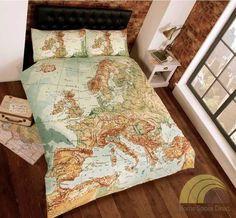 European Map Atlas Single Double King Size Duvet Cover Bed Set Bedding Bedlinen