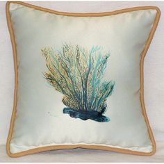 Aqua Blue Coral Throw Pillow.  Perfect for any indoor or outdoor beach cottage room! $42.99