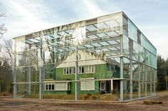 The former home of an SS commander at Nazi concentration camp Westerbork, the Netherlands, has been enclosed within a giant glass vitrine by Dutch studio Oving Architecten Landscape Architecture, Interior Architecture, Home Greenhouse, House In Nature, Timber House, Glass Boxes, Construction, House Design, Patio