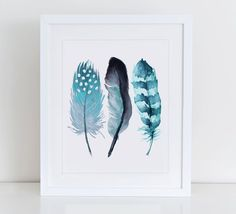 Feathers Watercolor Art Print Watercolour Wall by DecorartDesign Watercolor Feather, Feather Painting, Feather Art, Watercolor Walls, Watercolor Paintings, Word Drawings, Painting & Drawing, Art Gallery, Art Prints