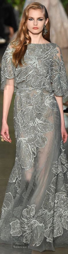 Elie Saab ~ Couture Spring Evening Gown,, Silver w Embellishments, 2015 .