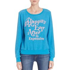 Wildfox Happily Ever After Sweatshirt found on Polyvore featuring polyvore, women's fashion, clothing, tops, hoodies, sweatshirts, apparel & accessories, beach cooler, graphic tops and slouchy tops
