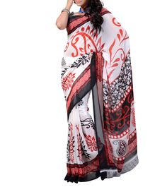 White & Red Printed Dani Georgette Saree