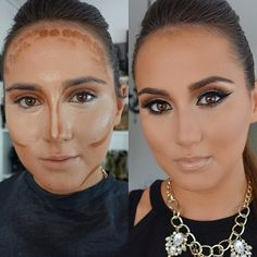 Before/After on my client. ❤️ Used: @maccosmetics Matchmaster foundation 3.0 Pro conceal and correct palette/light @anastasiabeverlyhills contour kit and brow pomade 'Dark brown' #maccosmetics blush 'Stubborn' @beauty_byjulie glow-to-go highlighter Eyes: #mac paint pot 'Painterly' and 'Vanilla' and 'Swiss chocolate' eyeshadows @inglot_usa liquid eyeliner #ardell lashes @toofaced Better than false lashes mascara Lips: Mac lipstick and gloss 'Myth' #j_make_up #jglam #vegas_nay #highli