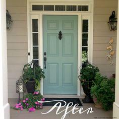 Trendy front door colors with tan house patio Front Door Paint Colors, Exterior Paint Colors For House, Paint Colors For Home, Exterior Colors, Exterior House Paint Colors, Behr Exterior Paint, Siding Colors, Aqua Front Doors, Painted Front Doors
