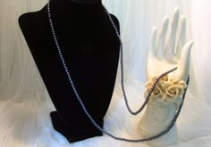Hematite 1970 Small Beaded and Shiney Long Necklace.