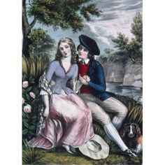 Robert Burns and his Highland Mary Currier and Ives colour lithograph (1857-1907) Canvas Art - Currier and Ives (18 x 24)