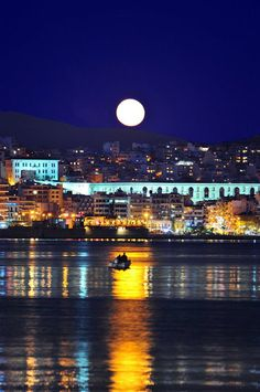 Greek city of Kavala - Full Moon