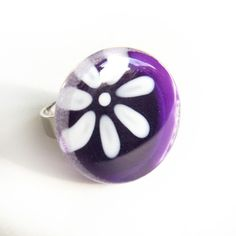 Hand painted flower glass ring violet by azurine on Etsy, $25.00