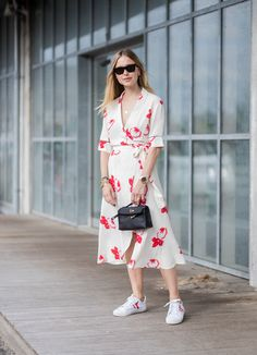 A Wrap Dress and Sneakers