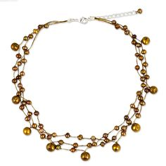 NOVICA Dyed Brown Cultured Freshwater Pearl Stainless Steel Choker Necklace, 15', 'Cinnamon Glow' >>> To view further for this item, visit the image link.