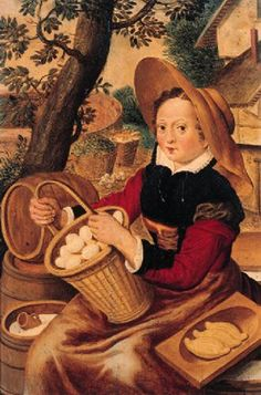 Joachim Beuckelaer A peasant woman offering eggs, butter and milk at a stall by a farm (by Follower) Oil Painting, late 16th century (artist d 1574)