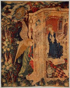 Tapestry with the Annunciation, ca. 1410–1430, South Netherlandish, wool warp, wool with a few metallic wefts    http://www.metmuseum.org/toah/works-of-art/45.76