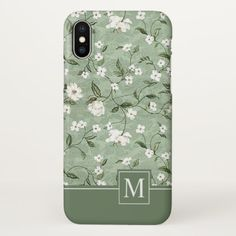 Shower of White Flowers Monogram | iPhone X Case - elegant gifts gift ideas custom presents