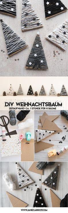 Restos de cartón, restos de lana y papel es lo que necesitas para hacer estos pequeños árboles. Espero que te animes http://www.janecarrot.com/diy-tannenbaum-dekoration-fuer-weihnachten