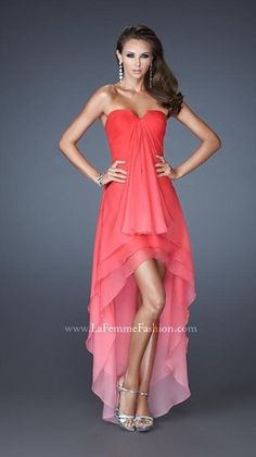 Feel elegant in this high-low layered ombre chiffon dress by La Femme