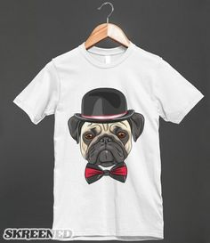 Pug Dog Wearing Bowler Hat and Bow Tie - Cute Puppy Dog T Shirt - Clothing, fashion for women, men, teens and kids.