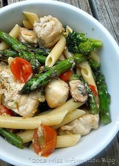 Chicken and Pasta — Customize this tasty recipe with all of your favorite vegetables. It's a delicious dinnertime dish idea that's perfect for transitioning into fall.