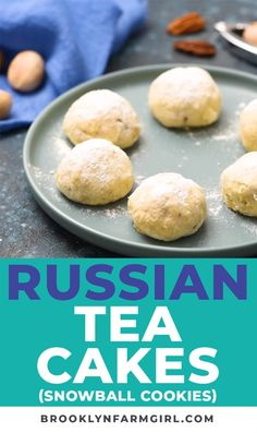 These Russian Tea Cakes are so easy to make and they are my absolute favorite Christmas cookie recipe! They're made with pecans and then rolled in powdered suga Tea Cake Cookies, Sugar Cookies Recipe, Cookies Et Biscuits, Russian Tea Cookies, Russian Tea Cake, Christmas Desserts, Christmas Baking, Christmas Cookies, Christmas Recipes