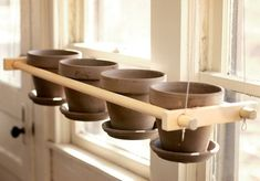 Suspended Plant Stand 4 pots Row indoor by GrindstoneDesign Indoor Planters, Flower Planters, Indoor Outdoor, Diy Plant Stand, Plant Stands, Terrarium Plants, Plant Pots, Small Potted Plants, Plant Holders