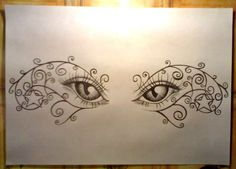 "Another lower-back tattoo design prepared by my un-talented self :> The main theme are... you're right! the eyes :> Because of the fact the ""client"" was female again it had to be a littl..."