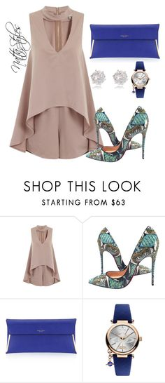 """""""little blue clutch"""" by nattaca on Polyvore featuring Christian Louboutin, Henri Bendel, Vivienne Westwood, River Island, outfitinspiration, lunchoutfit, nudejumpsuit and diamondearing"""