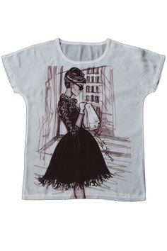 T-shirt Damska szyfonowa koszulka z nadrukiem, motyw  Audrey Hepburnn www.dariza.pl Sklep Dariza Stworzona By inspirować