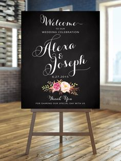 Welcome to our Wedding Sign - Poster Size - Romantic Blooms - Vintage White Script on Chalkboard - Personalized - I Create and You Print